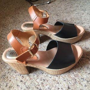 Woven heel strappy black & brown platform sandals
